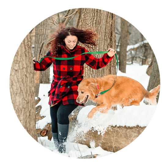 Dog mom with golden retriever jumping over snowy log